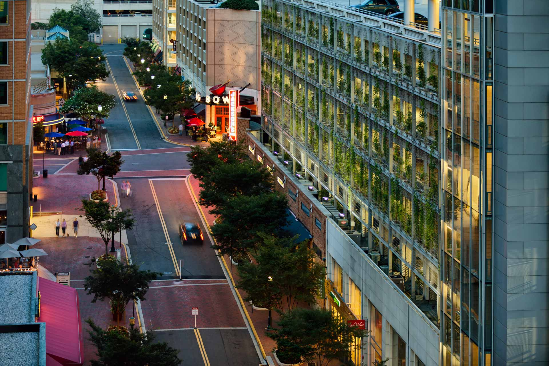 View of Reston Town Center street at dusk