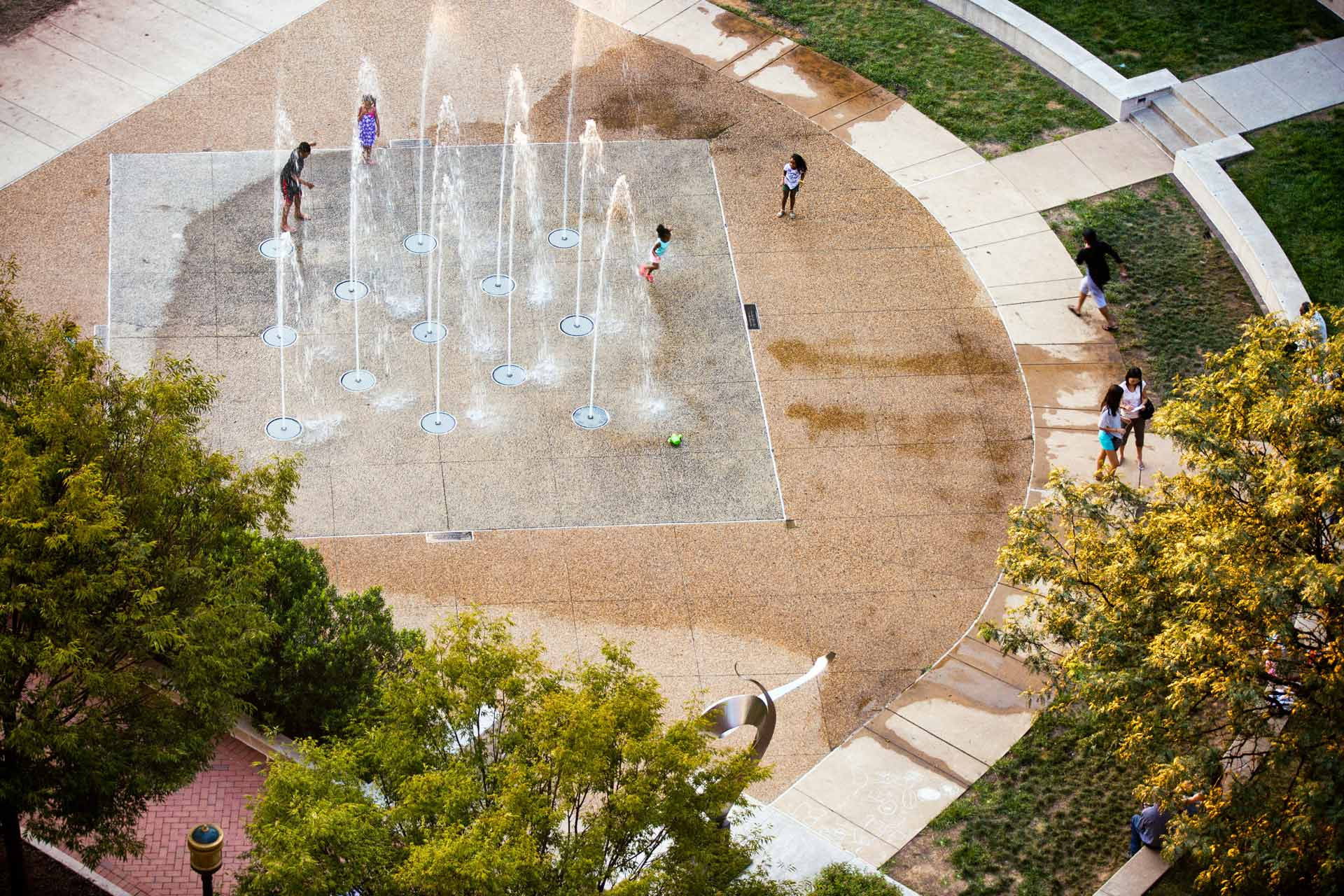 Aerial view of the Splash Pad at one of Reston Town Center's parks
