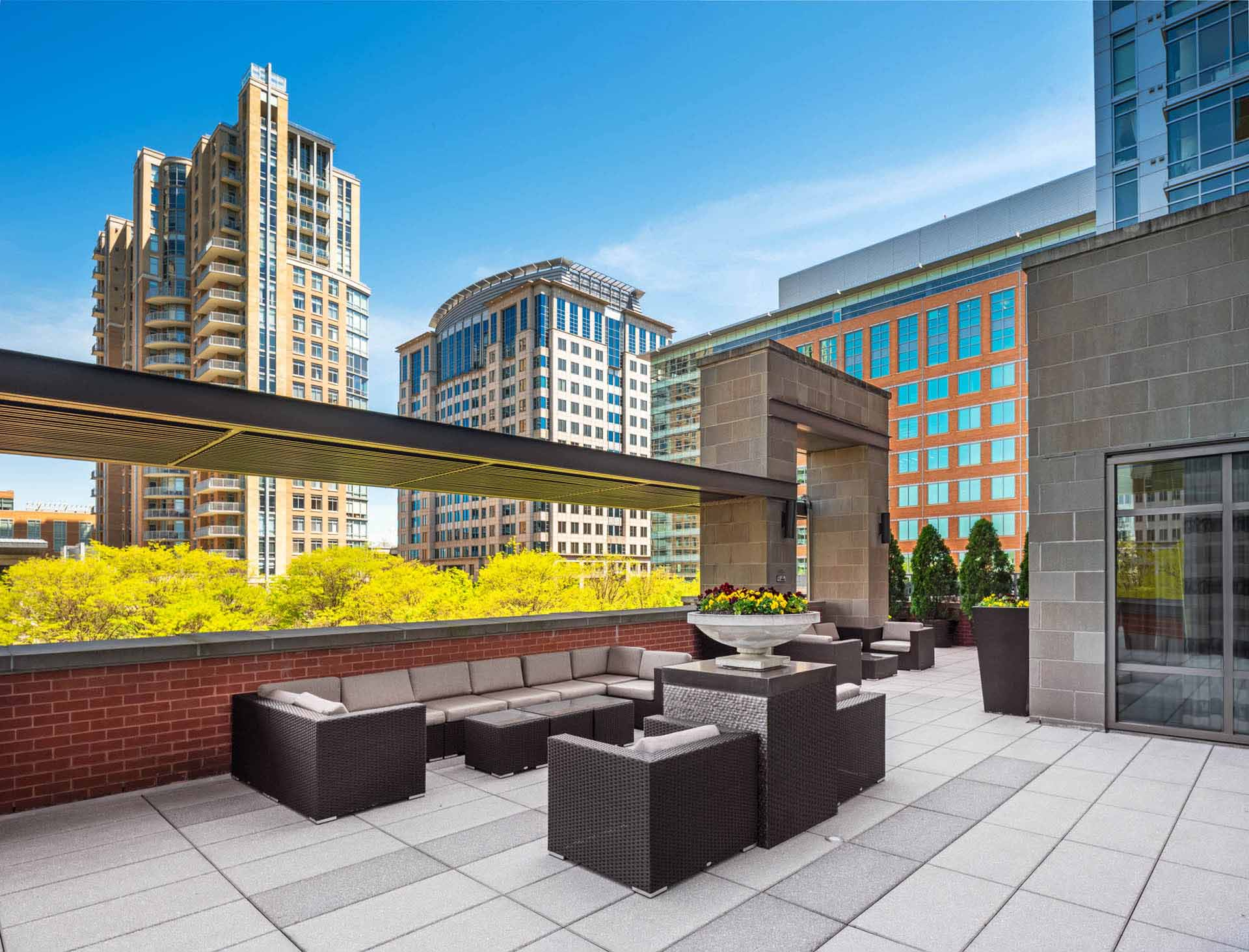 Terrace with outdoor seating and view of bright green treetops and tall buildings beyond