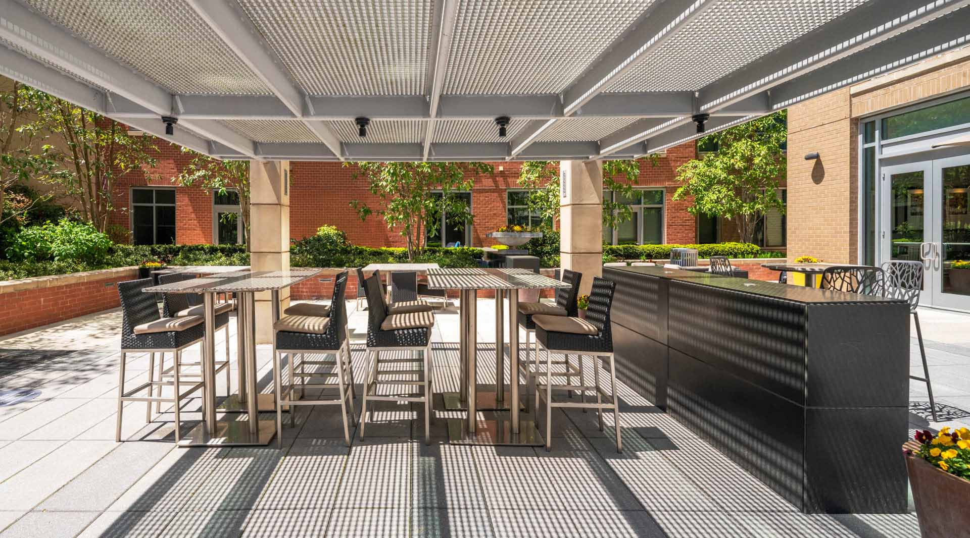 Patio trellis with shaded bar seating