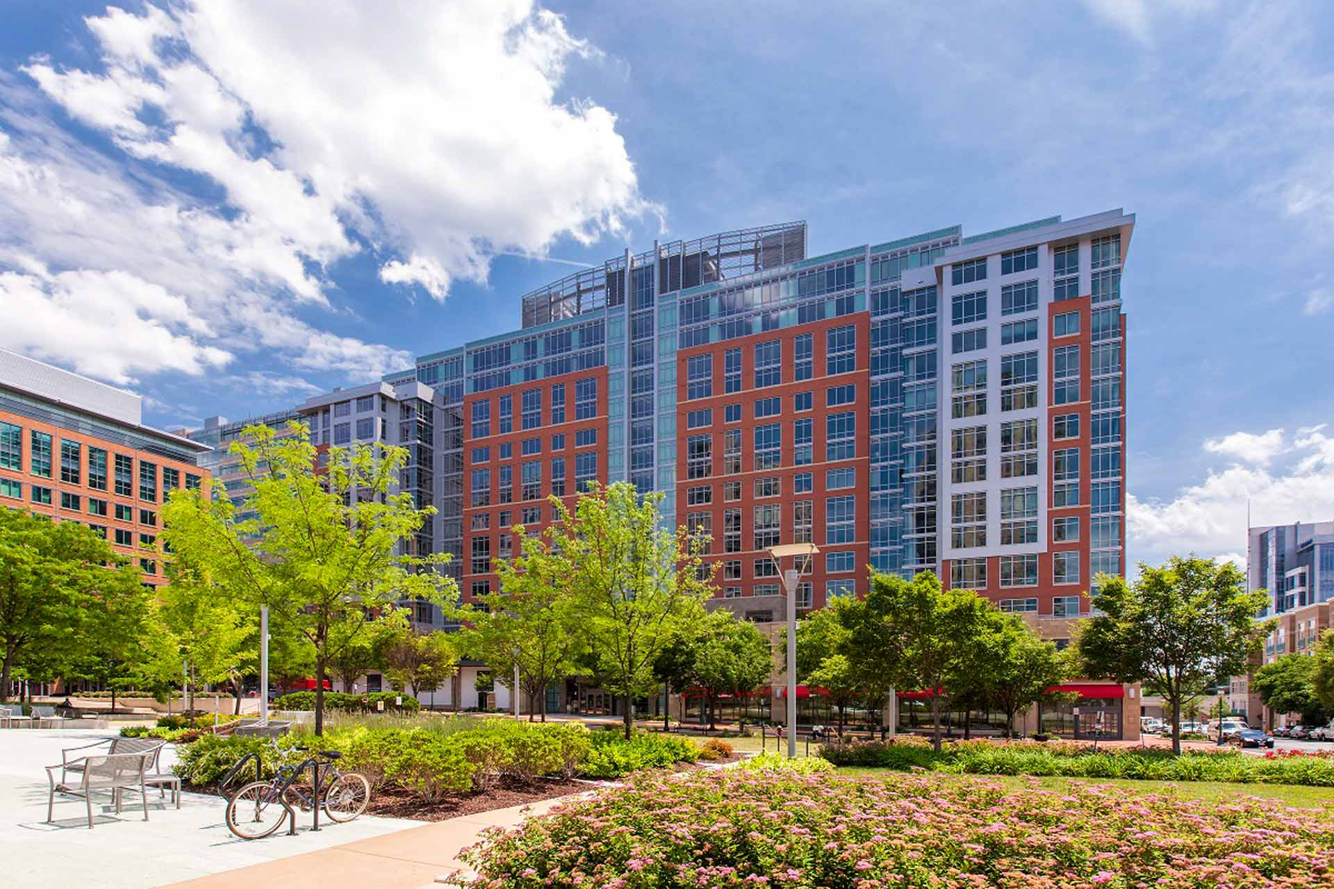 View of The Avant building from Reston Town Square Park greenery